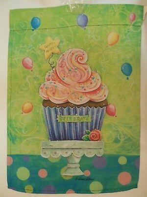"""CELEBRATE"" Happy Birthday Cupcake on Pedestal, Balloons, Icing, Garden Flag"