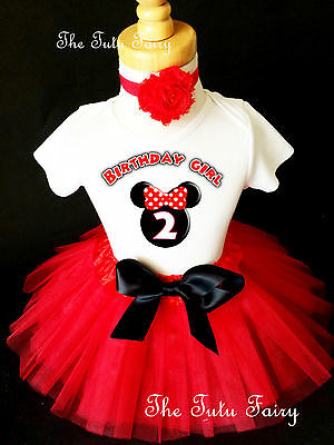 Minnie Mouse Black Red Ears 2nd Second Birthday Shirt Tutu Outfit Set girl