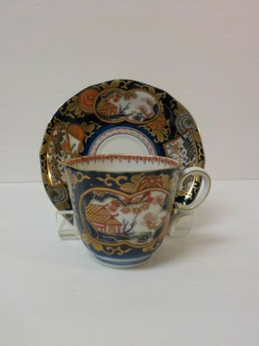 Japanese Arita Cup and Saucer, Imari Colors, Meiji Period (1868-1912)