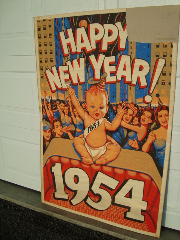 "Vintage Original 1954 Happy New Year Poster 40"" x 60"" National Screen Service"