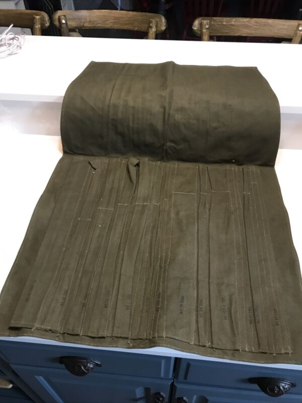 Vtg NOS Military Roll-UP Canvas Pouch Tool Bag Olive Green Strap Closure 23x19.5