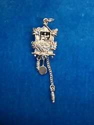 .800 SILVER GERMAN CUCKOO CLOCK CHARM - SOME MECHANICAL PARTS - NEAT & NICE TOO!
