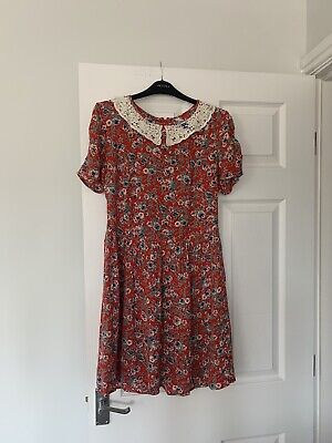 H! By Henry Holland Red Floral Rose Crochet Lace Peter Pan Collar Skater Dress