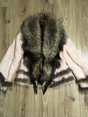 Womens Real Fox/Rabbit Fur Pink Brown Jacket Coat Size S New
