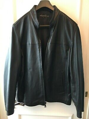 Vintage Kenneth Cole men's black leather jacket - size L - unique