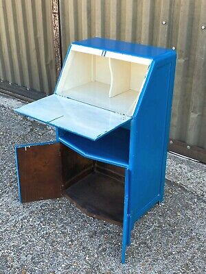 Vintage mid century compact / childrens work bureau with fall front writing desk