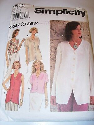 WOMENS UNCUT SIMPLICITY Sewing Pattern 9506 BUTTON BLOUSE TOP SHIRT SIZE 12-16