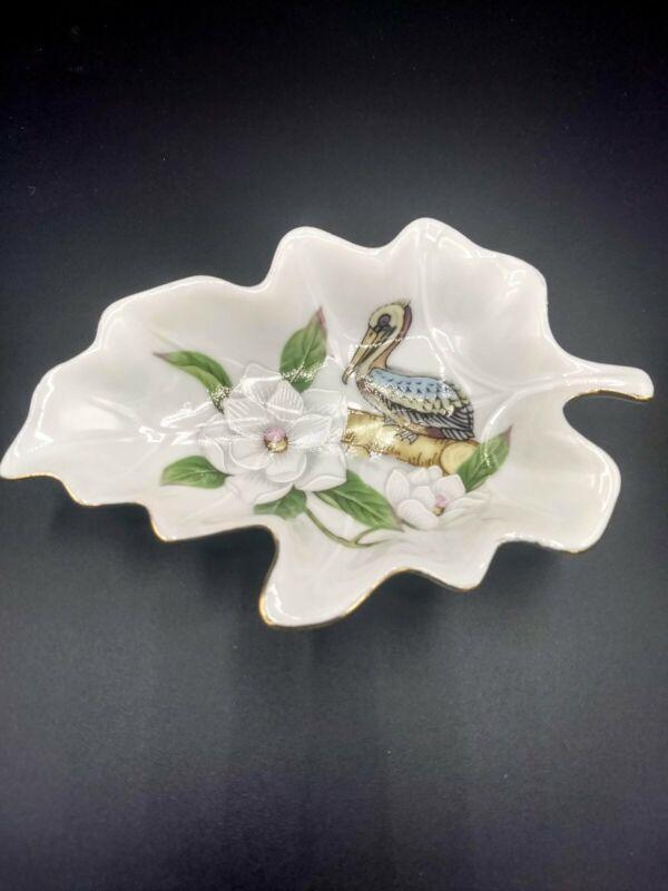 Vintage Lefton Trinket Dish 1984 Louisiana World Exposition Magnolia and Pelican