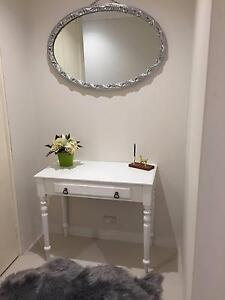 White hallway table with silver oval mirror Enfield Burwood Area Preview