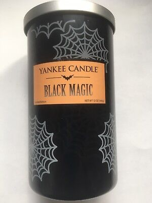 Yankee Candle BLACK MAGIC 12 oz PERFECT PILLAR REMOVABLE LABEL HALLOWEEN VHTF](Halloween Pillars)