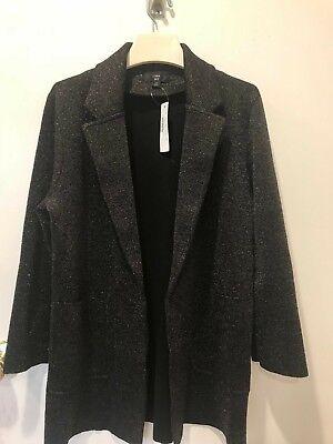 J. Crew Sparkly Sophie Open Front Sweater Blazer XS - Black Sparkly Blazer