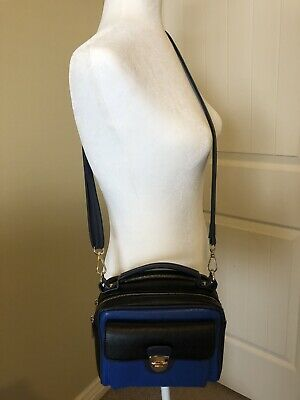 Melie Bianco Crossbody Bag. Medium Size. Womens. Black And Royal Blue. - Melie Bianco Black Handbag
