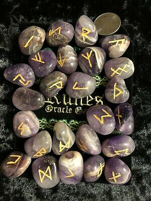 Amethyst Extra Large Runes Set Runes Velvet Bag Wicca Pagan Metaphysical 53