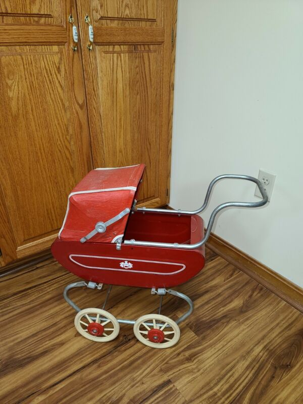 Vintage Red Metal Doll Toy Stroller Baby Buggy Carriage