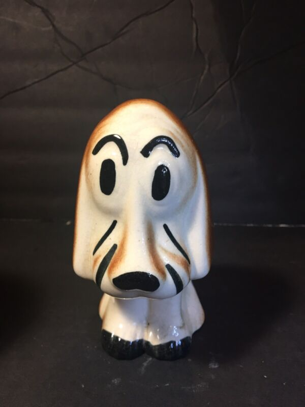 Vtg Ceramic Basset Hound Dog Figurine Sitting Collectible