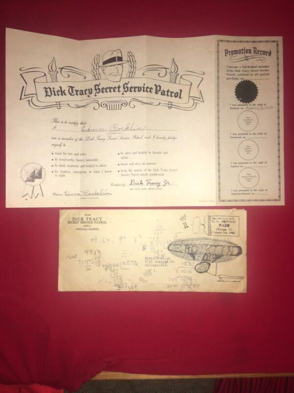 1938 Dick Tracy Secret Service Patrol Certificate W/Tin Sticker & Rare Envelope
