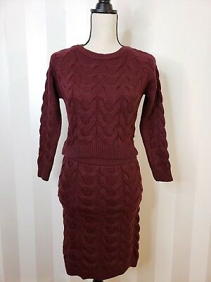 (Sweater Knit Dress Burgundy Quantity Luxury Unique 2pc Set Warm Bandage Bodycon)