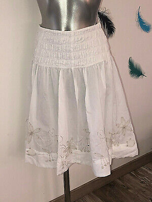 luxurious skirt embroidered white IBLUES size 36 fr 40i 34 NEW D value