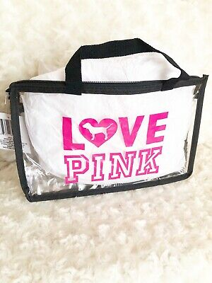 LOVE PINK Clear Stadium Purse Clear Makeup Bag Free Shipping Black Friday Sale