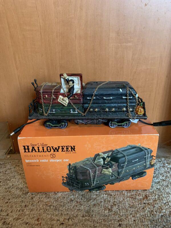 Dept. 56 Snow Village Halloween Haunted Rails Sleeper Car #4028711 Great Cond
