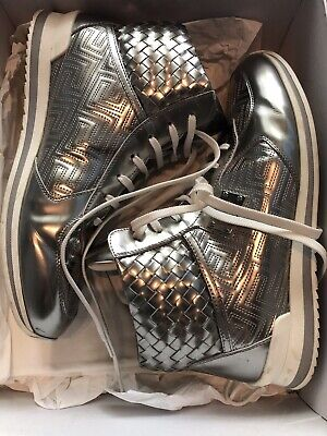 VERSACE Silver high top sneakers With Tags, Cloth  And Bag