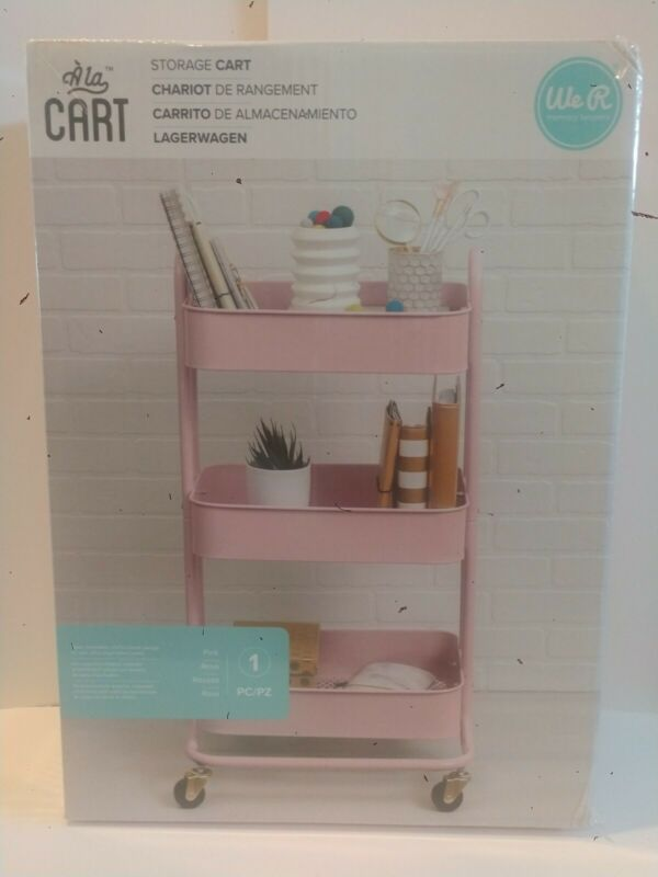 """Wer Memory Keepers STORAGE CART Pink Color 18""""×""""32""""×16.25"""" with 3 Shelf"""