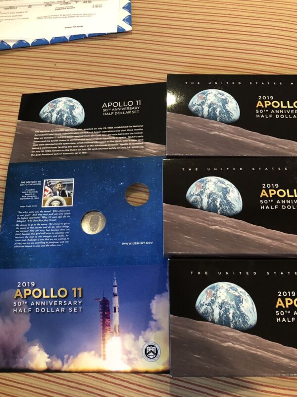 2019 S APOLLO 11 HALF DOLLAR PROOF CLAD CURVED COIN WITH OGP FROM 2 COIN SET