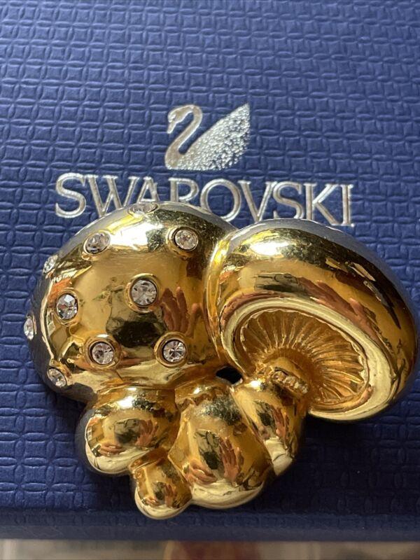 Swarovski Swan Signed Gold Mushrooms Brooch Pin