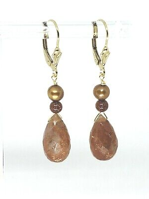 14k Yellow Gold Filled Sunstone Briolette, Goldstone and Pearl Dangle Earrings
