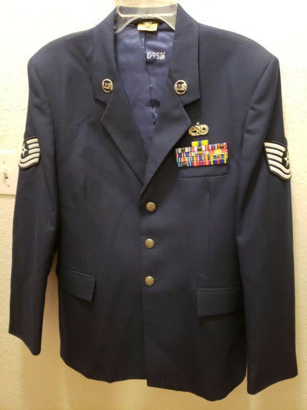 US Air Force USAF Vtg Dress Blue Uniform Coat Jacket 42L Technical Sergeant