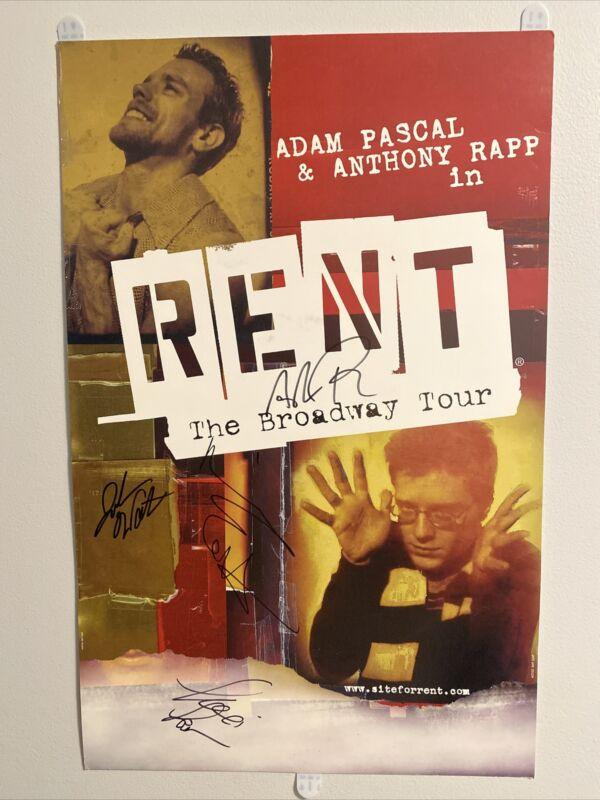 RENT Original Broadway Cast Poster Signed Window Card Framed 22 X 14