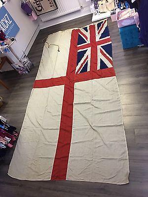 HUGE Original Antique Panel stitched British White Ensign Royal Navy Flag