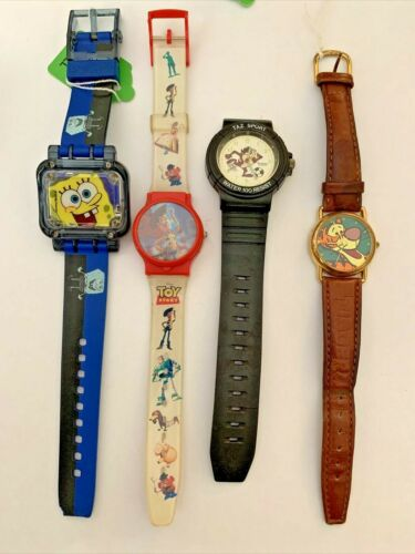 Watches - bulk lot of 4 cartoon characters - acceptable condition TAZ Toy Story