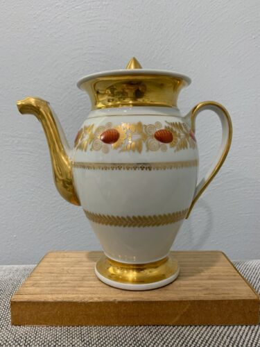 Antique French Old Paris Porcelain Teapot w/ Red Floral & Gold Decoration