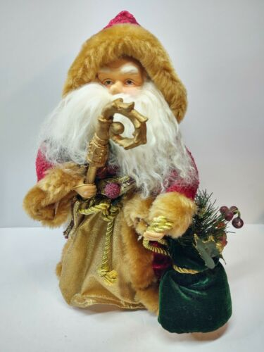 """Santa Claus Tree Table Topper 12"""" Vintage Unmarked Staff Bag Spruce Holly"""