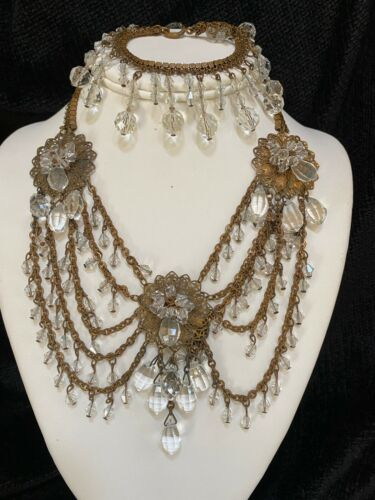 Early Miriam Haskell Festoon & Crystal Bead Dangle Necklace & Bracelet Set