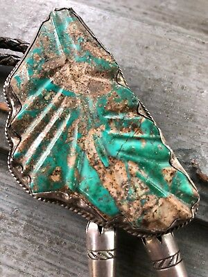 Large Vintage Leekya Deyuse Zuni Carved Turquoise Leaf, Sterling Silver Bolo Tie