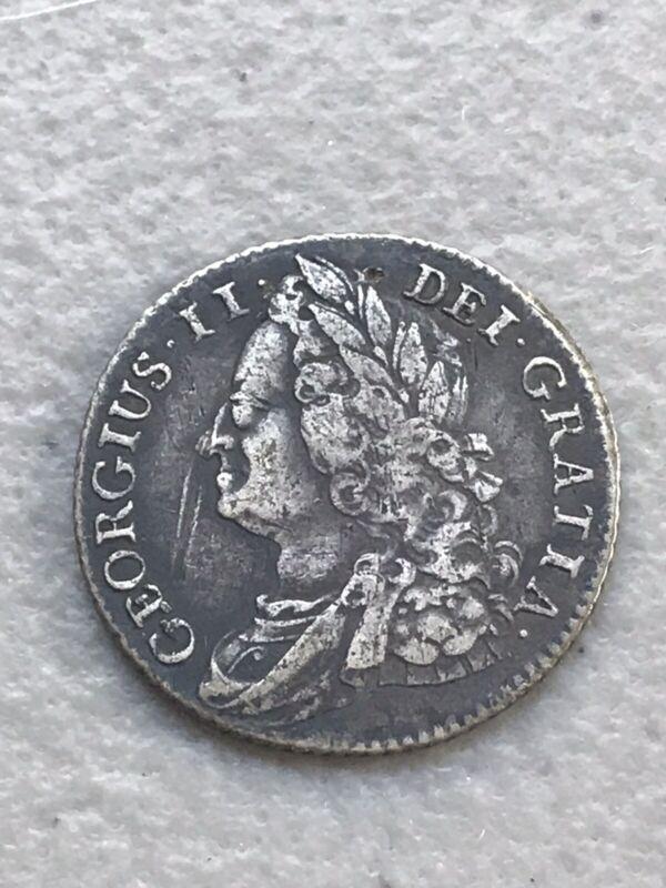 1743 UK Great Britain Silver Shilling Coin George II Rare Scarce