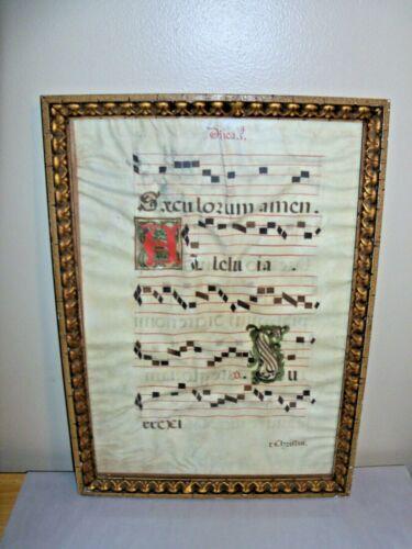 Antique, c 1600, Large Illuminated Manuscript, Hand Written on Vellum