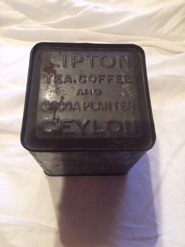 VINTAGE LIPTON ADVERTISING TIN:TEA,COFFEE AND COCOA PLANTER CEYLON  ON BOTTOM.