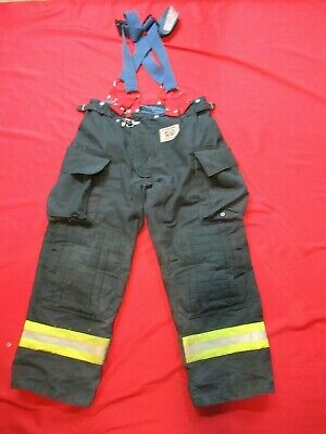 Morning Pride Fire Fighter Turnout Pants 38 X 30 Black Bunker Gear Suspenders