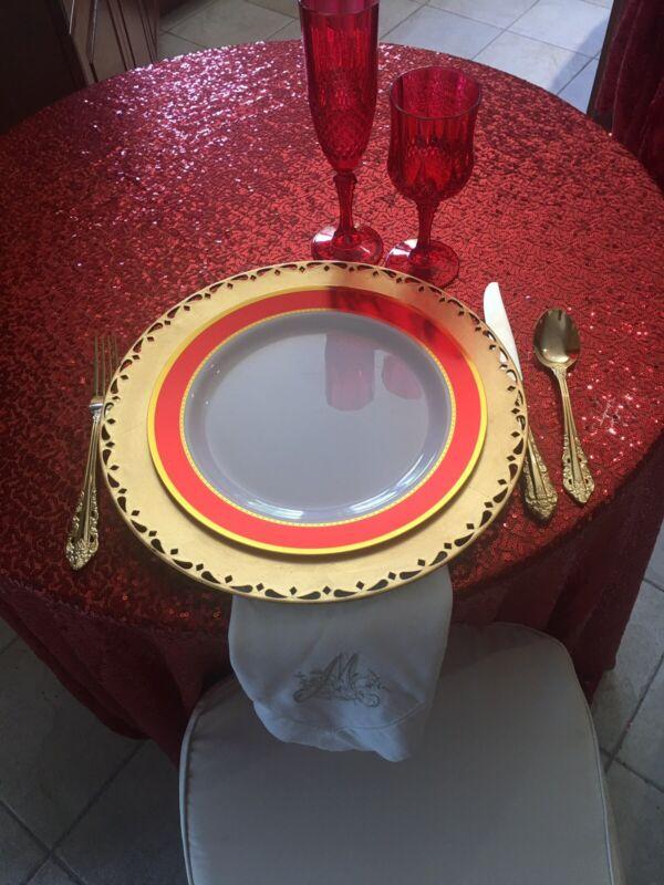 8 oz. REDnCrystal Cut Plastic Champagne Flutes 12pc set