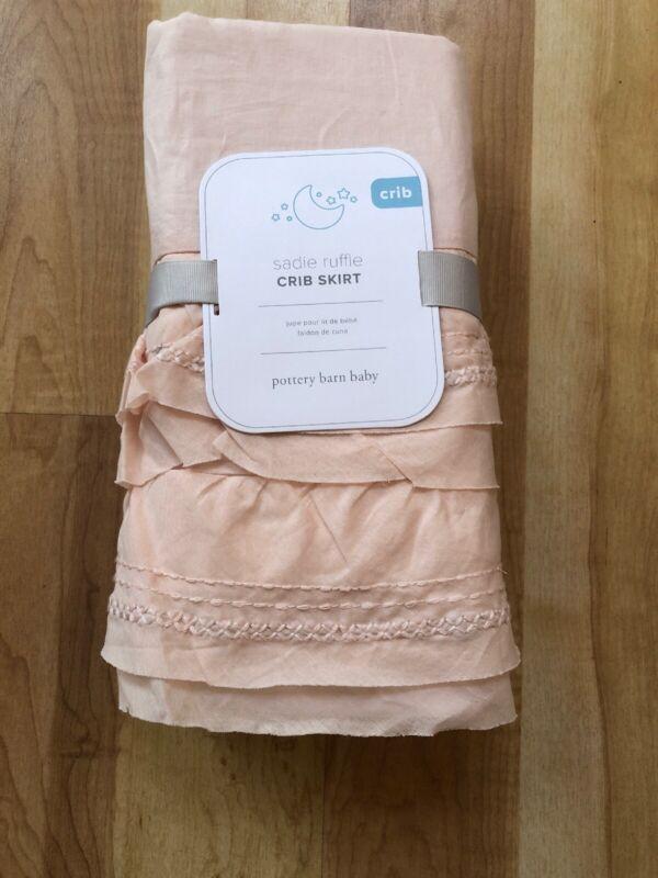 New Pottery Barn Kids Sadie Ruffle  Crib Skirt  Baby Cotton Pale Peach