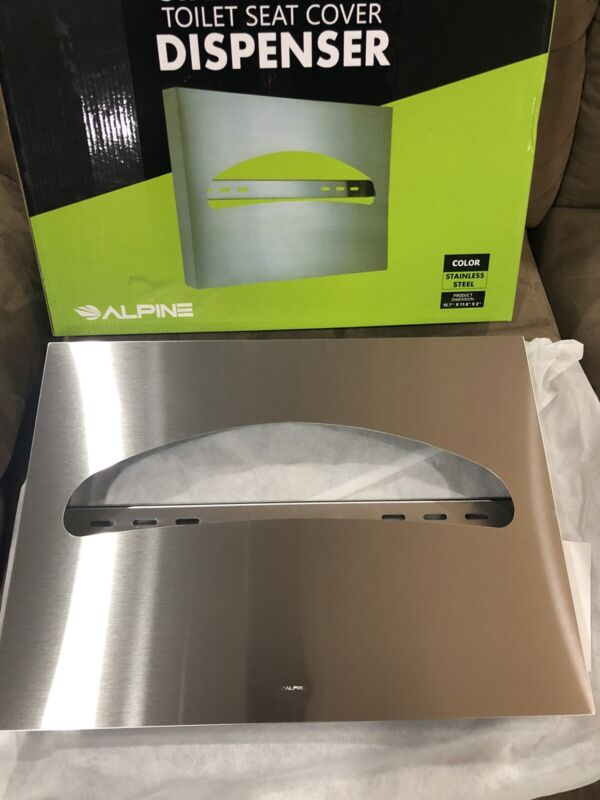 Alpine Industries Stainless Steel Brushed Toilet Seat Cover Dispenser 483