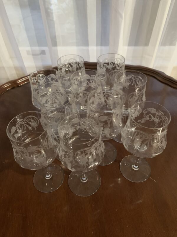 Set Of 10 Cambridge Marjorie Optic Etched Floral Panel Glasses