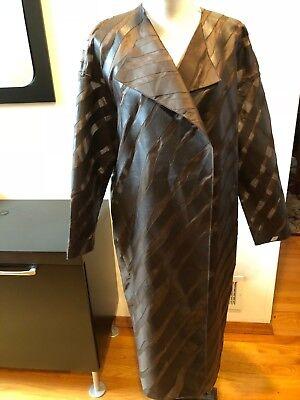 Faux Silk Coat (NEW AKRIS GALILEO BROWN SILK FAUX LEATHER LIGHT COAT JACKET CARDIGAN  SIZE 10)