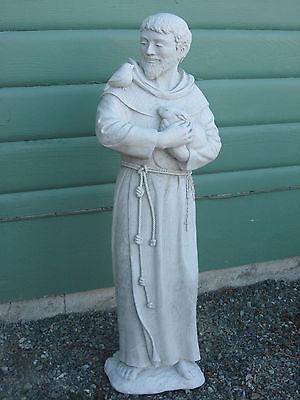 "ST FRANCIS of ASSISI 32"" Outdoor Cement Statue CATHOLIC SAINT Bird & Rabbit NEW"