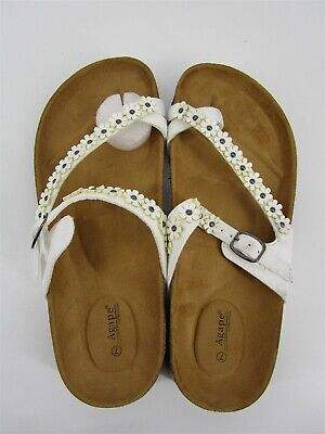 Agape Double Strap Floral Buckle Criss Cross Toe Slide Sandal White Size 7 S3