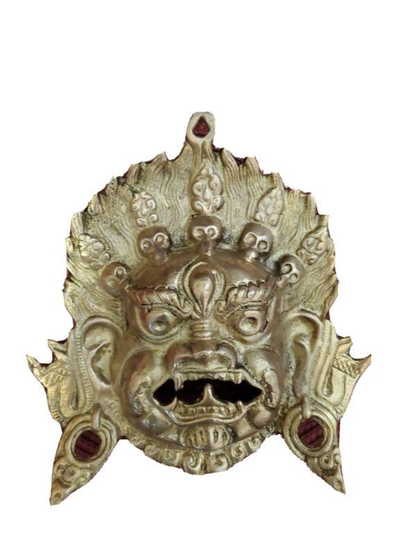 Handmade Carving statue Copper Brass Mask God Deco Art