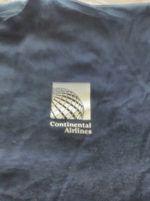 Vintage 90s Continental Airlines T Shirt Old Logo USA Navy Blue FREE SHIP